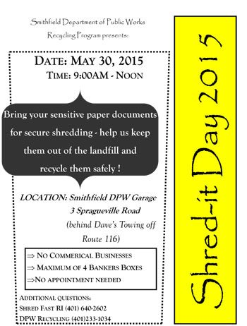 Smithfield Department of Public Works Recycling Program presents Shred-it Day 2015