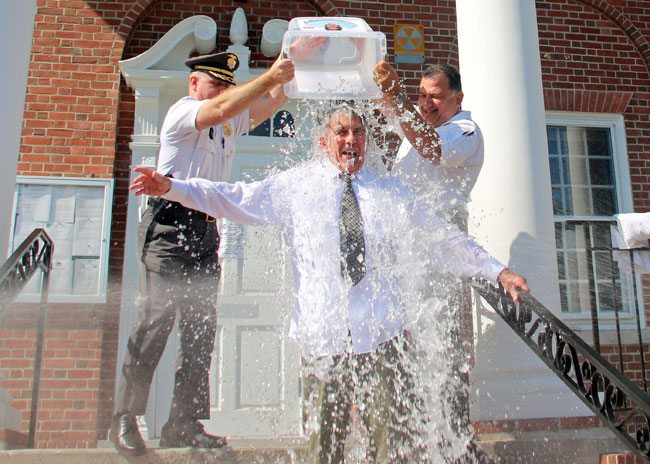 On Wednesday, 8-27-2014 Smithfield Town Manager Dennis Finlay took the Ice Bucket Challenge to raise money for ALS.