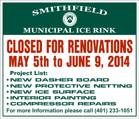 Smithfield Municipal Ice Rink Closed for Renovations